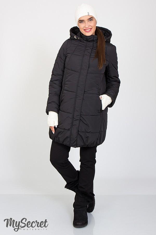 Черная зимняя куртка для беременных свободная с капюшоном Jena Юла Мама  (S-XL)