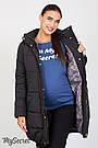 Черная зимняя куртка для беременных свободная с капюшоном Jena Юла Мама  (S-XL), фото 5