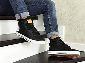 Кросівки в стилі   Converse All Star чорно білі з помаранчевим  термо   ТОП якість