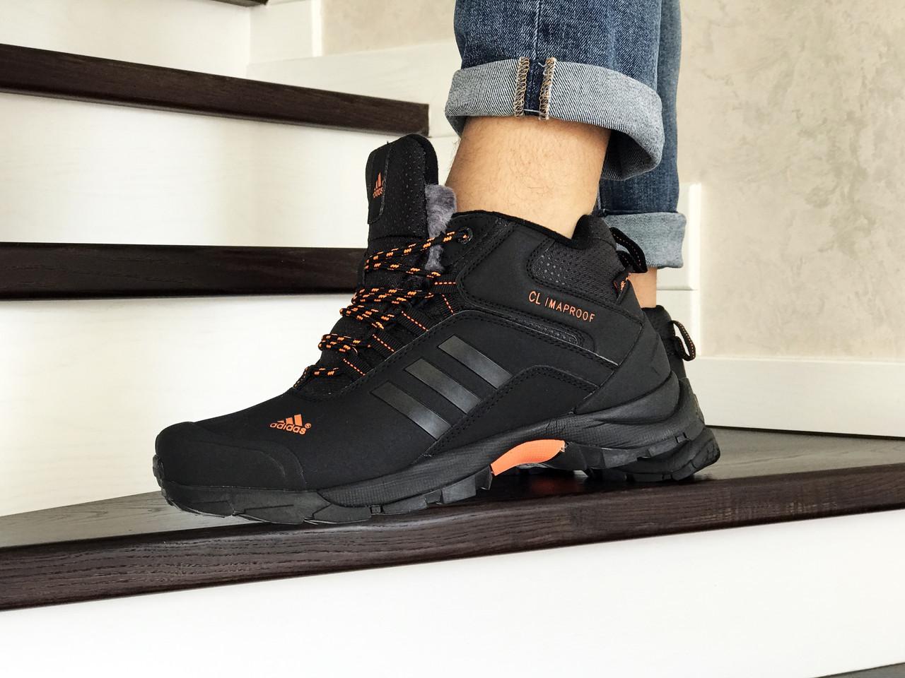Кросівки в стилі  Adidas Climaproof   чорні з помаранчевим   зима   ТОП якість