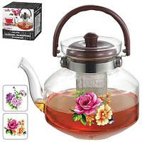 """Чайник - заварник Stenson """"Цветы"""" объем 2л, сито, боросиликатное стекло, чайничек, заварники, чайники, чайники и заварники"""