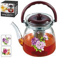 """Чайник - заварник Stenson """"Цветы"""" объем 2,4л, сито, боросиликатное стекло, чайничек, заварники, чайники, чайники и заварники"""