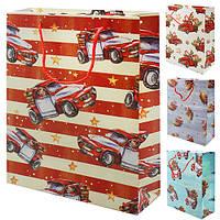 "Пакет подарочный бумажный с ручками Stenson ""Christmas car"" размер 32х26х12см, разные цвета, подарочные пакеты, пакеты для подарков бумажные"