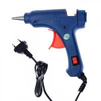 Клеевой пистолет Stenson Glue диаметр 0,7см, 20W, синий, пластик, пистолет клеевой, крепежный инструмент