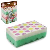 Губки кухонные Glycinia R85943 в упаковке 3шт, 10*7*3см, разные цвета, губки для мытья посуды, губки, мочалки, мочалка