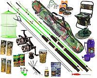 Рыболовный набор Два cпиннинга Crocodile 19в1 катушка Cobra 4000 3ВВ графит, чехол, стул, термос