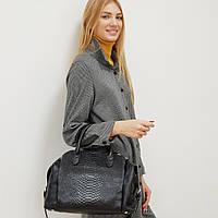 Жіноча сумка з натуральної шкіри чорна велика повсякденна, фото 1