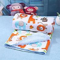 Детский плюшевый плед в коляску, игровой коврик, шерпа, меховой, флисовый, покрывало, одеяло в манеж, кроватку