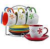 """Чайный сервиз """"Цветы"""" на стойке, 12 предметов (240 мл. d15 см.)"""