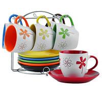 """Чайный сервиз """"Цветы"""" на стойке, 12 предметов (240 мл. d15 см.), фото 1"""