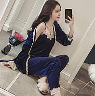 Пижама тройка штаны майка халат женская велюр піжама трійка жіноча велюрова