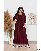 Платье трикотажное длинное батальное с пайеткой 54 56 58 60 62 64