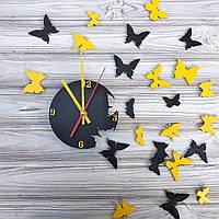 """Оригинальные деревянные настенные часы """"Бабочки"""" черно-желтого цвета"""