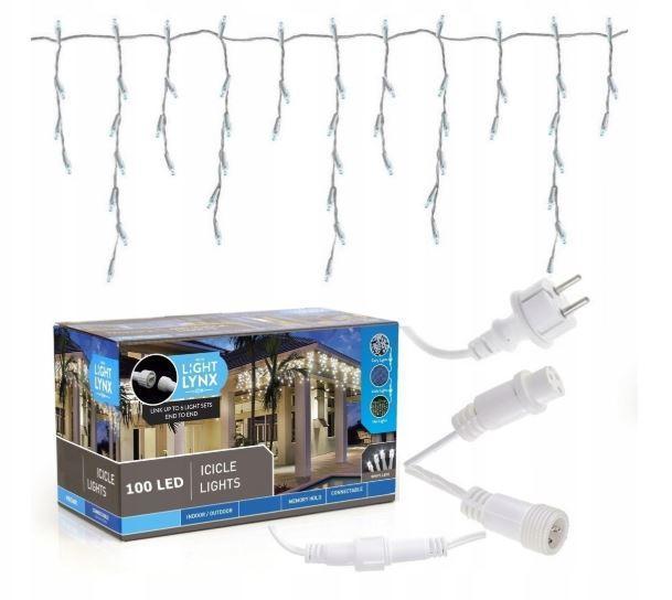Новогодняя гирлянда бахрома 5,5 м 100 LED (Теплый белый с холодной белой вспышкой)