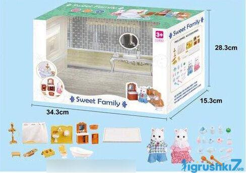 Кукольная ванная комната с семьей плюшевых белых котиков (аналог Sylvanian Families)
