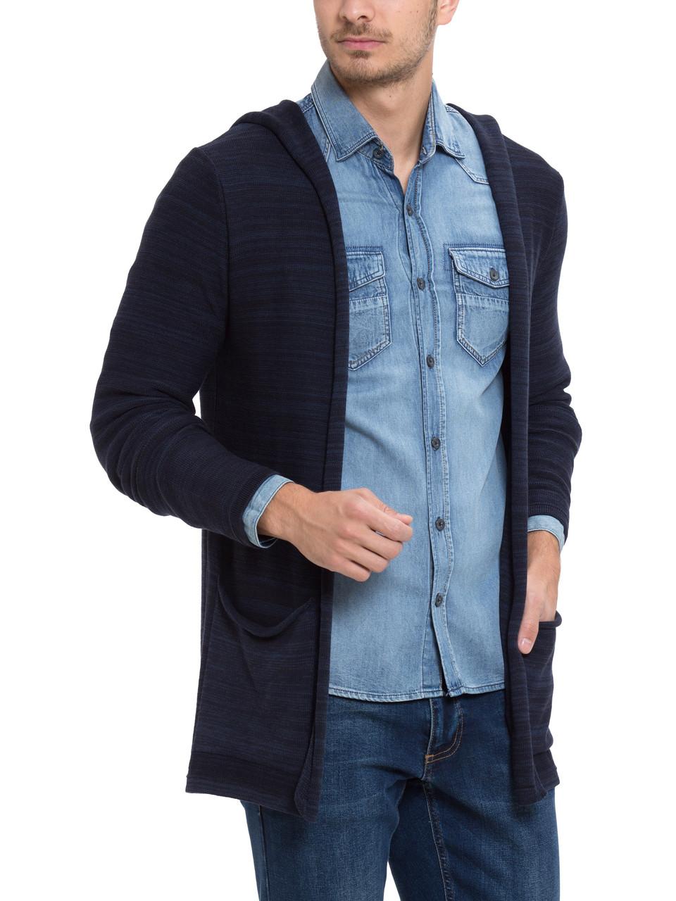 Мужская мантия LC Waikiki / ЛС Вайкики синяя, с накладными карманами и капюшоном