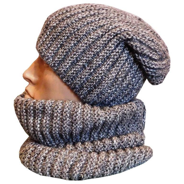 Мужская шапка бини и бафф ручной работы