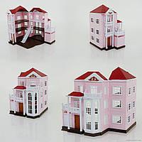 Трехэтажный кукольный дом 1513, розовый, Happy family аналог Sylvanian Families, для ЛОЛ