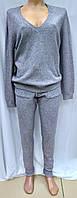 Женский кашемировый спортивный костюм, кофта и штаны, серый, фото 1