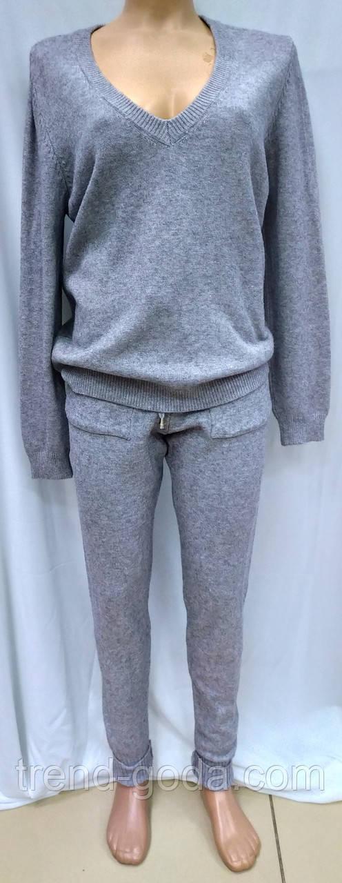 Женский кашемировый спортивный костюм, кофта и штаны, серый