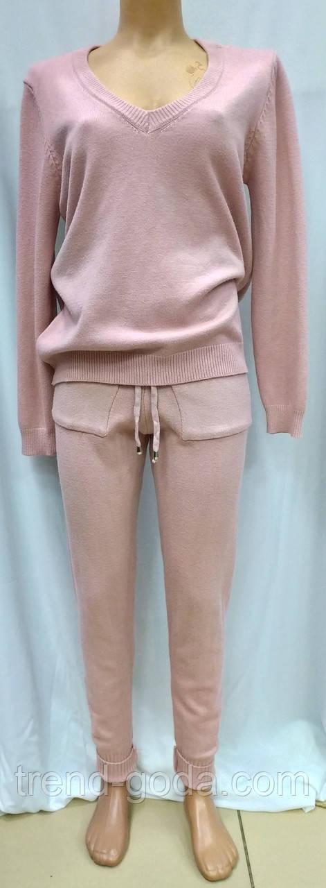 Женский кашемировый спортивный костюм, кофта и штаны, розово-пудренный