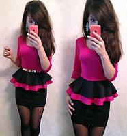 Платье с двойной баской длинный рукав. Размеры 42, 44, 46, 48