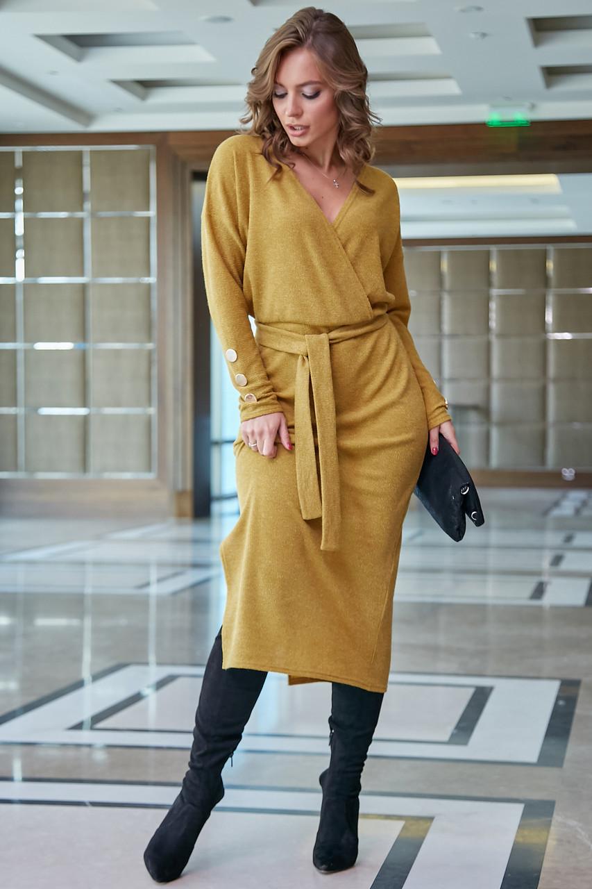 Элегантное платье женское р. от 42 до 48, вязка цвета горчица