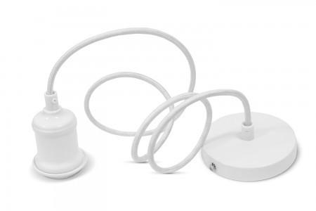 Світильник підвісний під лампу декоративний білий метал E27 кабель 1.1М VIDEX