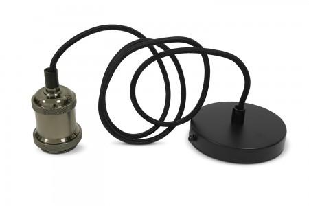 Світильник підвісний декоративний чорний алюміній E27 кабель 1.1М VIDEX