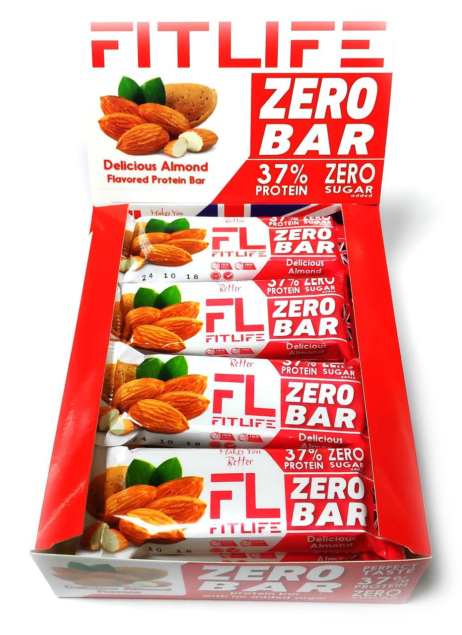 Упаковка батончиків FitLife Zero Bar Delicious Almond 12 шт х 60 г