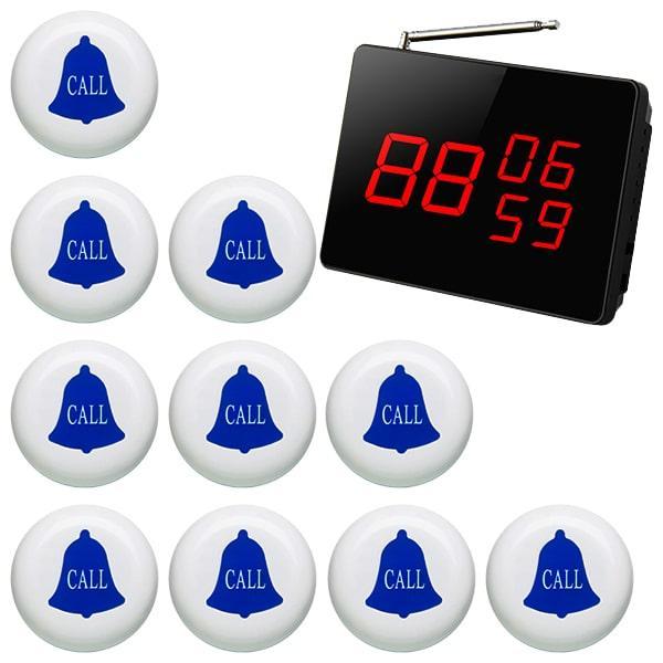 Cистема вызова официанта: табло-приемник на 3 номера и 10 кнопок