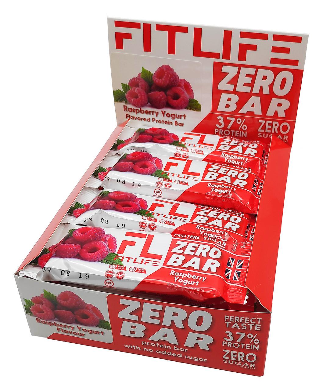 Упаковка батончиков FitLife Zero Bar Raspberry Yogurt 12 шт х 60 г
