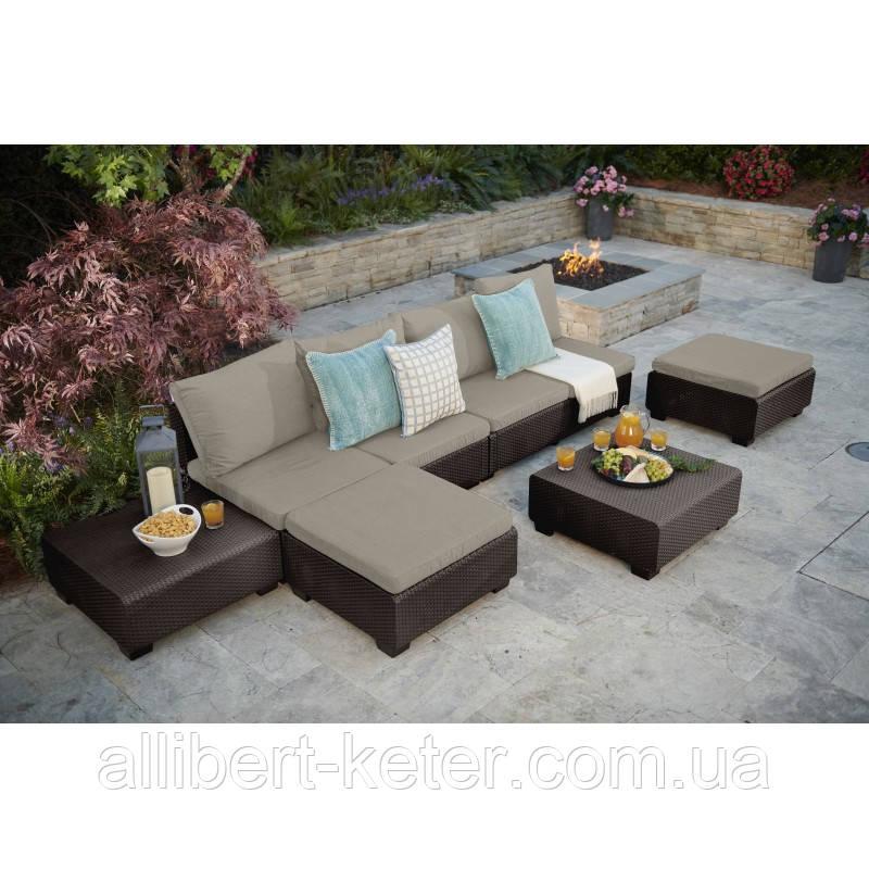 Набор садовой мебели Sapporo Lounge Set Brown ( коричневый ) из искусственного ротанга