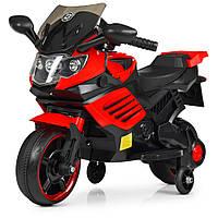 Детский двухколесный электрический мотоцикл с мягким сиденьем  для детей от 2 до 5 лет Bambi M 4116  красный