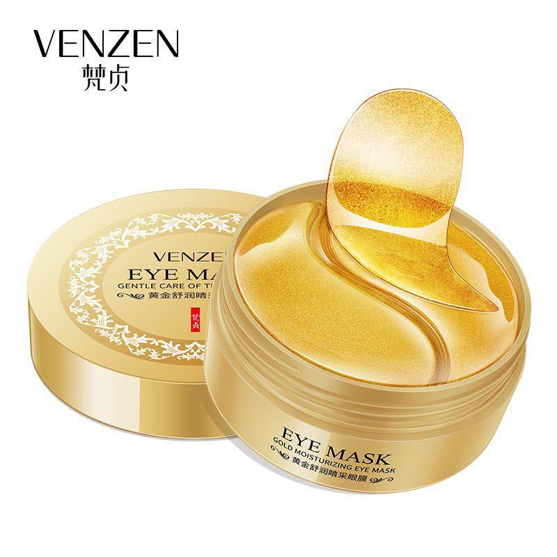 Гидрогелевые патчи под глаза с частицами золота и спирулиной Venzen Gold Moisturizing Eye Mask (80г/60шт), фото 1