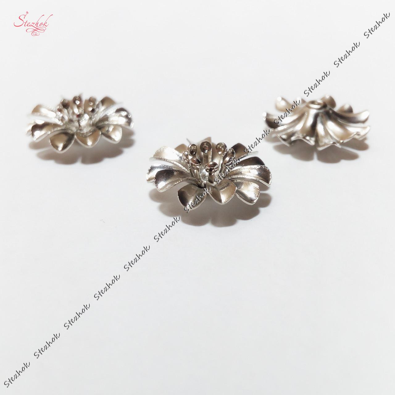 Металлическая бусина разделитель 14 мм цветок платина для рукоделия