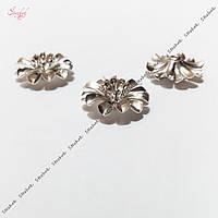 Металлическая бусина разделитель 14 мм цветок платина для рукоделия, фото 1