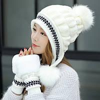 Женская зимняя шапка с перчатками Veno белая
