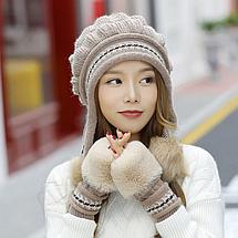 Жіноча зимова шапка з рукавичками Veno синя, фото 3