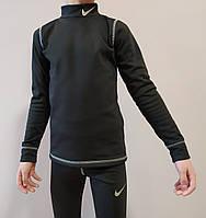 Термобелье детское спортивное на холодную погоду в стиле Nike черное