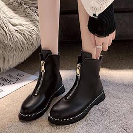 Женскием Ботинки кожаные демисезонные полуботинки осень весна, на низком ходу