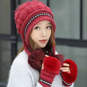 Женская зимняя шапка с перчатками Veno белая Красный