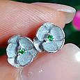 Серебряные серьги гвоздики Сакура - Сакура серьги пуссеты серебро, фото 8