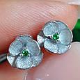 Серебряные серьги гвоздики Сакура - Сакура серьги пуссеты серебро, фото 9