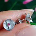 Серебряные серьги гвоздики Сакура - Сакура серьги пуссеты серебро, фото 3