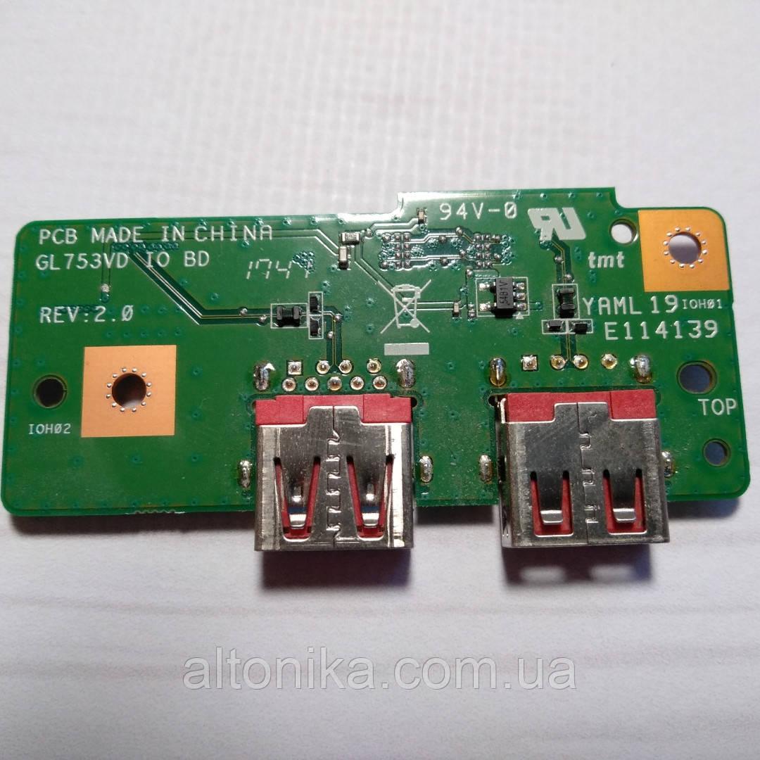 Дополнительная плата c разъемами USB для ноутбука Asus GL753VD IO BD Original (90NB0DM0-R10040)