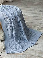 Плед дитячий в'язаний 90x90 BETIRES KITTEN BLUE (100% бавовна) блакитний