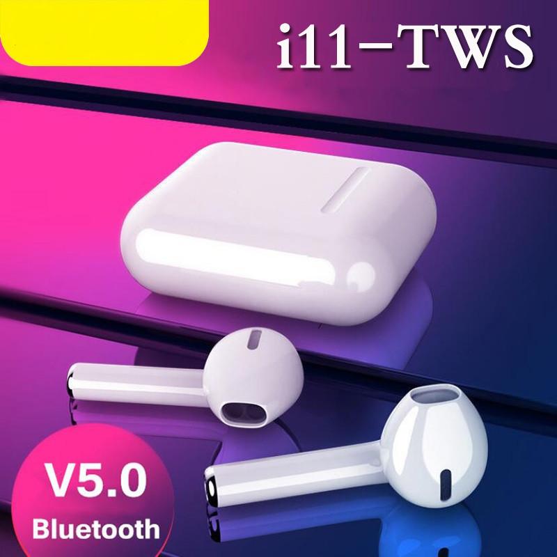 Беспроводные Bluetooth наушники i11 в стиле Apple AirPods сенсорные с кейсом для зарядки.