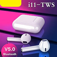 Беспроводные Bluetooth наушники i11 в стиле Apple AirPods сенсорные с кейсом для зарядки., фото 1