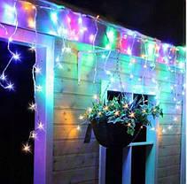 Новогодняя гирлянда бахрома 5,5 м 100 LED (Многоцветная с холодной белой вспышкой), фото 2